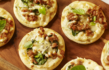 Kashi & Summer Fresh Appetizer Recipe – Chorizo Artichoke Asiago Mini Pizzettes